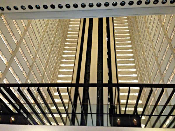 The atrium with floors of guest rooms opening onto the elevator