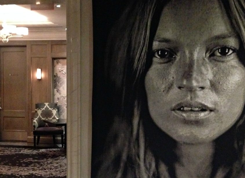 A Chuck Close painting in the lobby